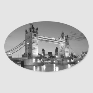 Black White London Tower Bridge Oval Sticker