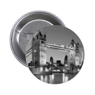 Black White London Tower Bridge Pinback Button