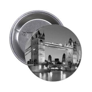 Black White London Tower Bridge Pinback Button