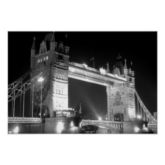 Black White London Tower Bridge Poster