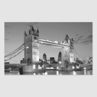 Black White London Tower Bridge Rectangular Sticker