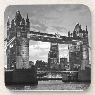 Black White London Tower Bridge UK Travel Drink Coaster