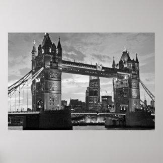 Black White London Tower Bridge UK Travel Poster