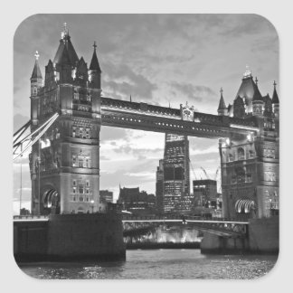 Black White London Tower Bridge UK Travel Square Sticker
