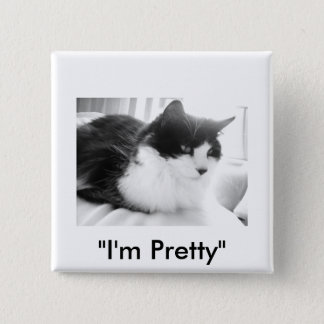 Black & White long-haired Cat Pinback Button