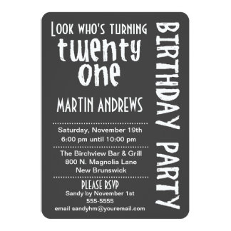 Black/White Look Who's Turning 21 Birthday Invite