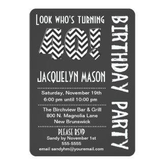 Black/White Look Who's Turning 40 Birthday Invite