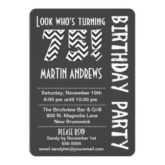 Black/White Look Who's Turning 75 Birthday Invite
