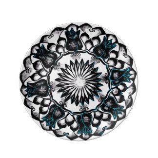 Black & White Lotus Mandala Ritual Plate Porcelain Plates