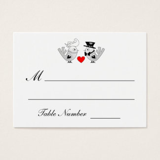Black & White Love Birds Table Seating Cards
