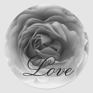 Black & White LOVE Rose - Wedding Envelope Seal Classic Round Sticker