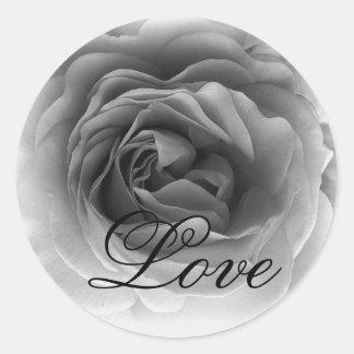 Black & White LOVE Rose - Wedding Envelope Seal Stickers