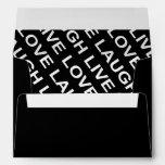 Black White Love Text Pattern Envelopes