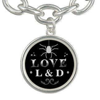 Black & White LOVE Wedding Initials Spider Charm