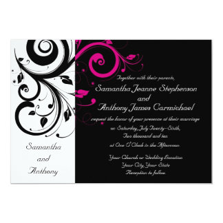 "Black/White/Magenta Bold Swirl Wedding Invitations 5"" X 7"" Invitation Card"