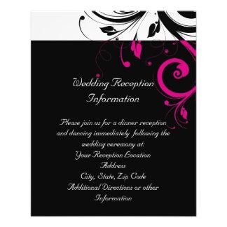 Black White Magenta Reverse Swirl Reception Flyer
