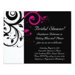 Black, White, Magenta Swirl Bridal Shower/ General 4.25x5.5 Paper Invitation Card