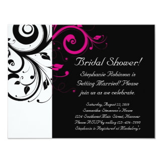 Black, White, Magenta Swirl Bridal Shower/ General Card