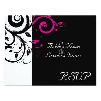 Black +White Magenta Swirl Wedding Matching RSVP Card