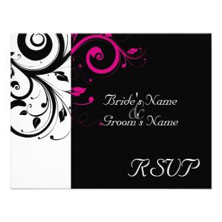 Black +White Magenta Swirl Wedding Matching RSVP Announcement