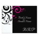 "Black +White Magenta Swirl Wedding Matching RSVP 4.25"" X 5.5"" Invitation Card"