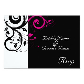 "Black/White Magenta Swirl Wedding Small RSVP 3.5"" X 5"" Invitation Card"