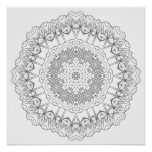 Black & White Mandala For Coloring And Meditation Print