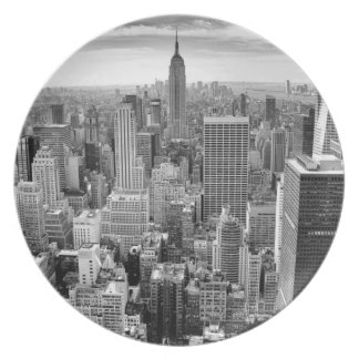 Black White Manhattan Empire State Building Melamine Plate
