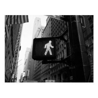 Black White Manhattan New York Walk Sign Postcard
