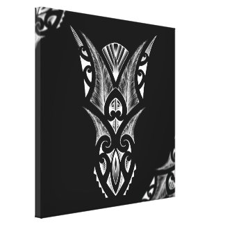Black/white Maori tattoo design with feathers Canvas Print