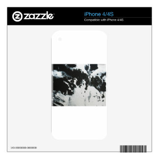 Black & White Marble Abstract Illustration Design Skin For iPhone 4S