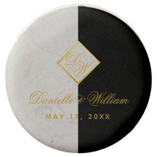 Black White Marble Monogram Gold Elegant Wedding Chocolate Covered Oreo
