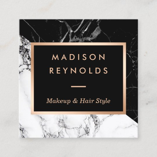 Black white marble rose gold beauty salon square business card black white marble rose gold beauty salon square business card reheart Gallery