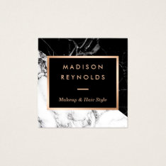 Black White Marble Rose Gold Beauty Salon Square Business Card at Zazzle
