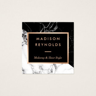 Black White Marble Rose Gold Beauty Salon Square Business Card