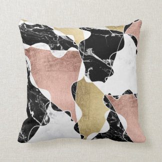 Black white marble rose gold color block geometric throw pillow