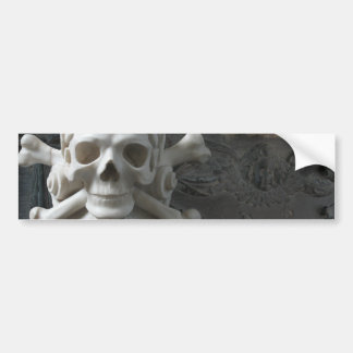 Black White Marble Stone Skull Pirate Car Sticker