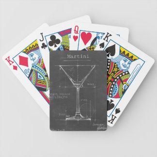 Black & White Martini Glass Blueprint Bicycle Playing Cards
