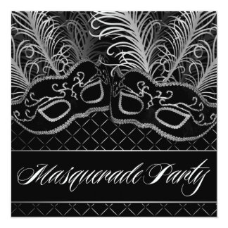 Black White Mask Masquerade Ball Party Invitations