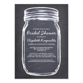 Black & White Mason Jar Bridal Shower Invitations Card