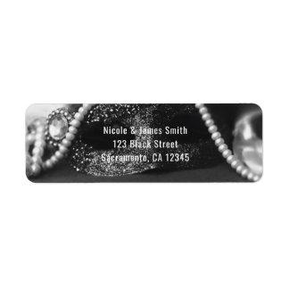 Black & White Masquerade Mask & Pearls Invitation Label