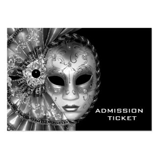 Black White Masquerade Party Admission Tickets Large Business Card