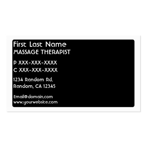 Black white Massage Therapist business cards (back side)