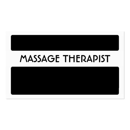 Black white Massage Therapist business cards (front side)