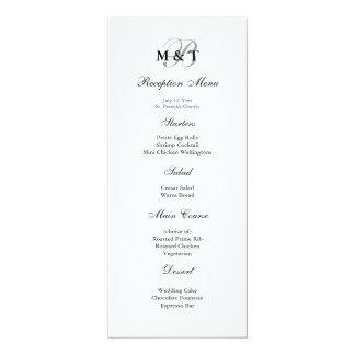 Black & White Matte Monogram Wedding Menu Card