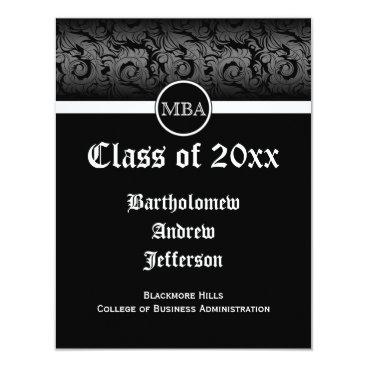 Professional Business Black/White MBA Business Grad School Graduation Card
