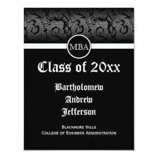 Black/White MBA Business Grad School Graduation 4.25x5.5 Paper Invitation Card