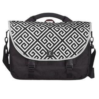Black White Med Greek Key Diag T Pattern #1 Bags For Laptop