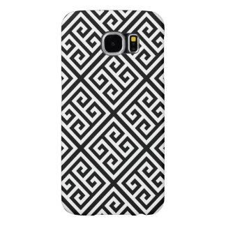 Black White Med Greek Key Diag T Pattern #1 Samsung Galaxy S6 Case