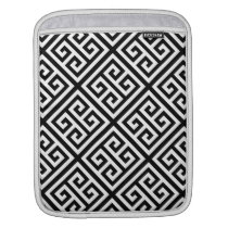 Black White Med Greek Key Diag T Pattern #1 Sleeve For iPads